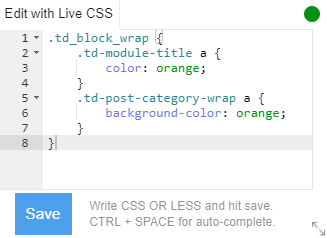 Use the Live CSS Box to make fast adjustments to your pages
