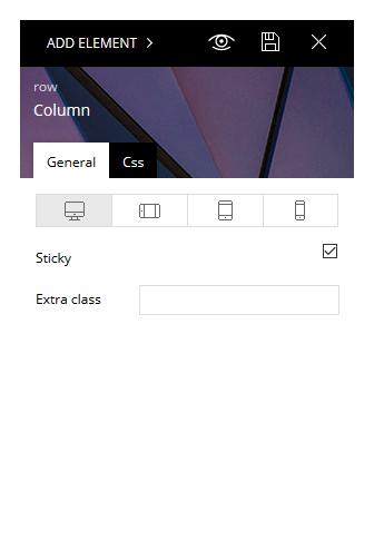 Check the Sticky box to add a sticky sidebar