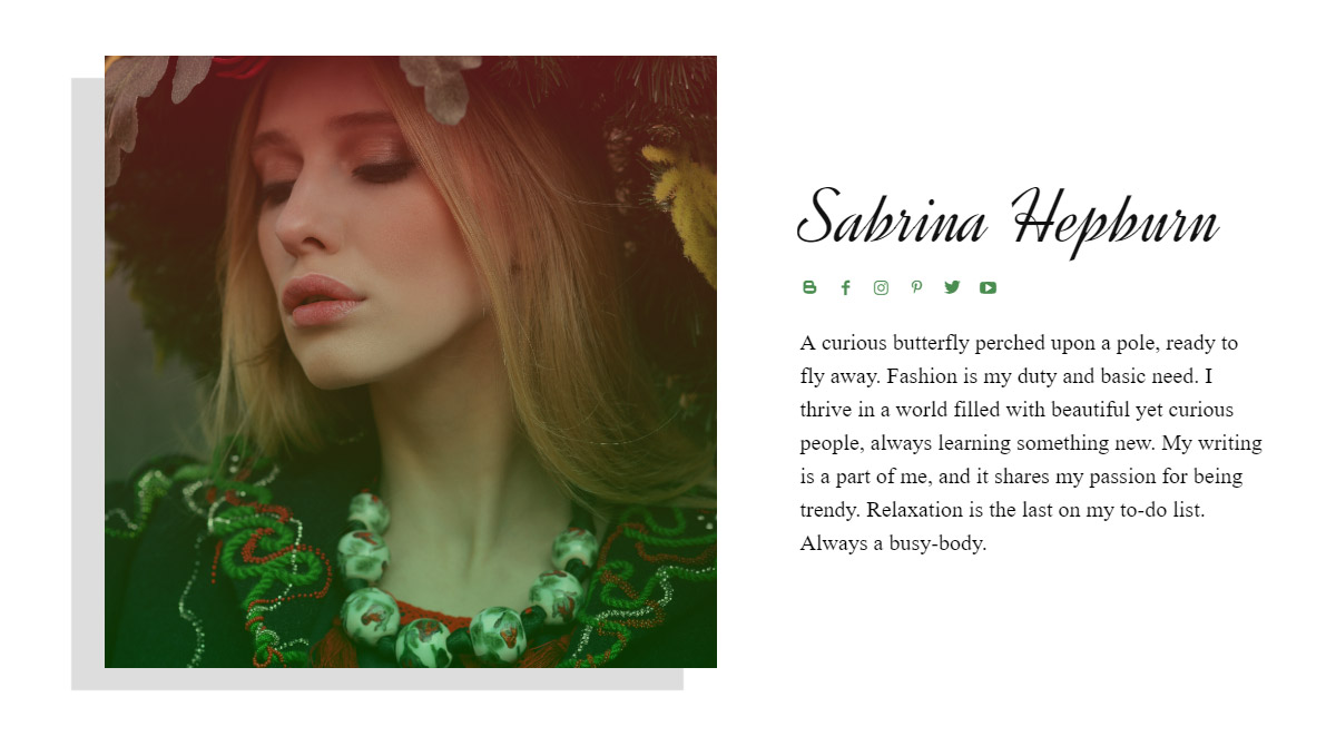 Author Page Template For Sabrina Hepburn
