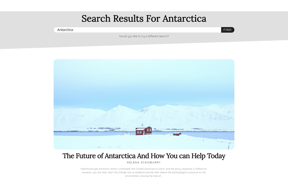 Antarctica Search Page Templates
