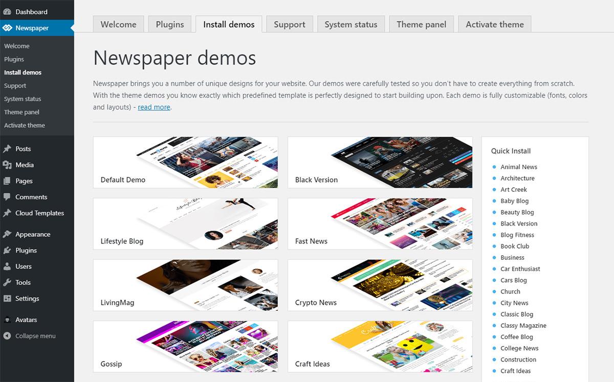 Newspaper WordPress Theme: Installing Demos