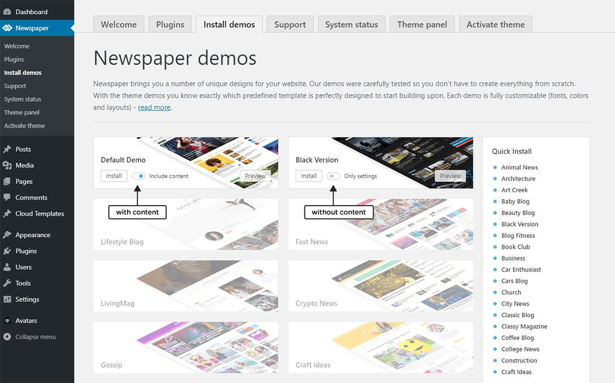 install demos content
