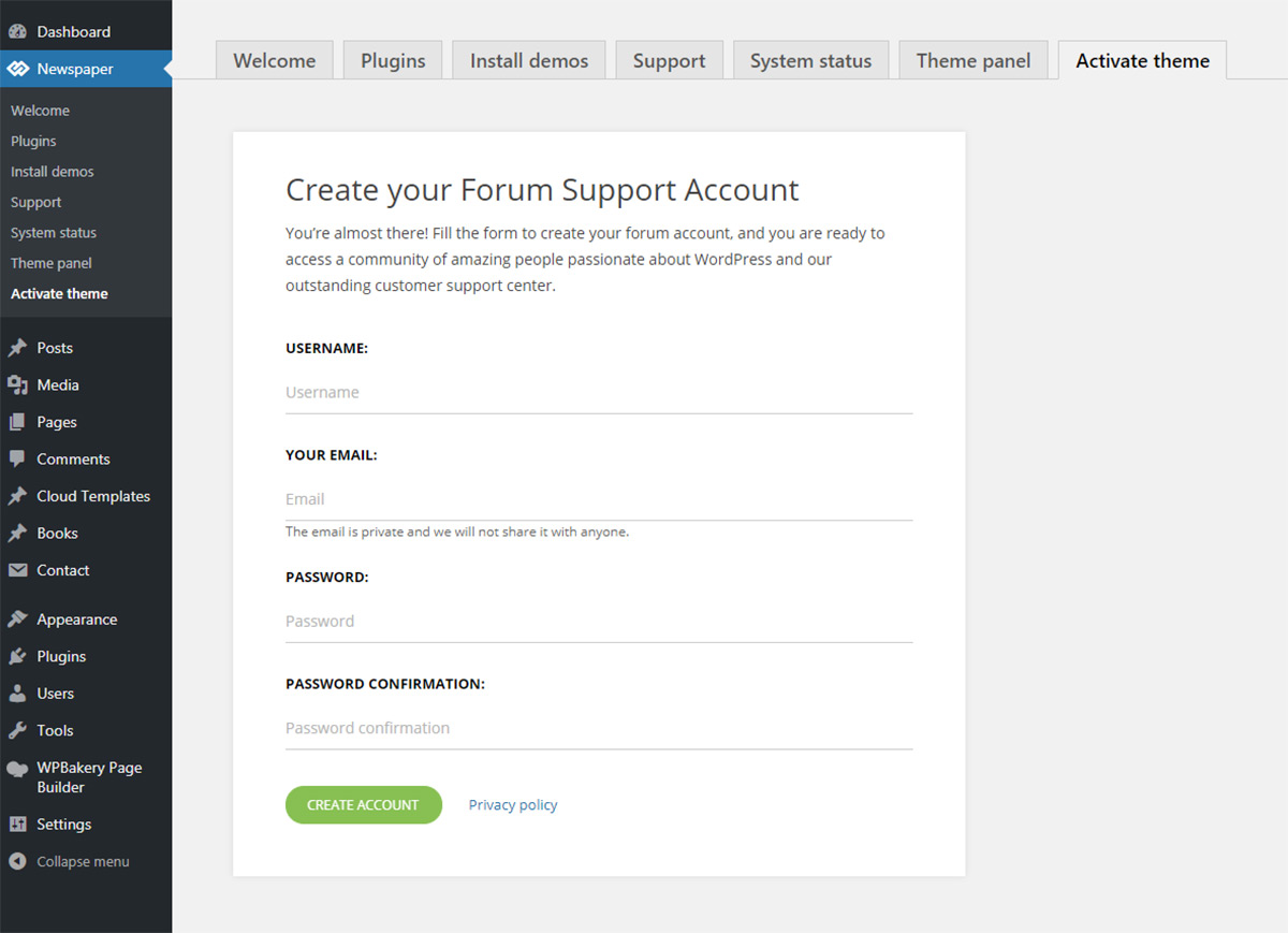 How to Activate the Newspaper theme: Create a Customer Support Account