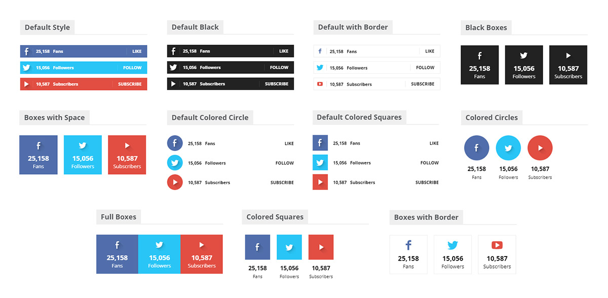 tagDiv Social Counter plugin different styles for your website
