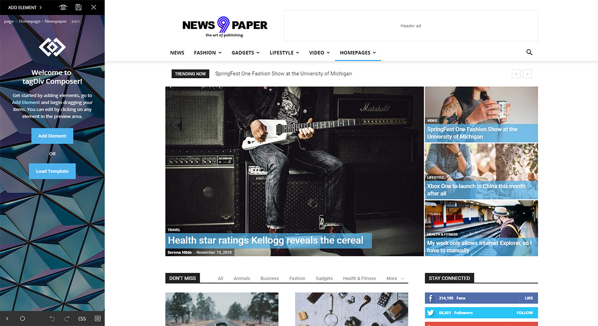 tagDiv Composer Page Builder: Newspaper Homepage