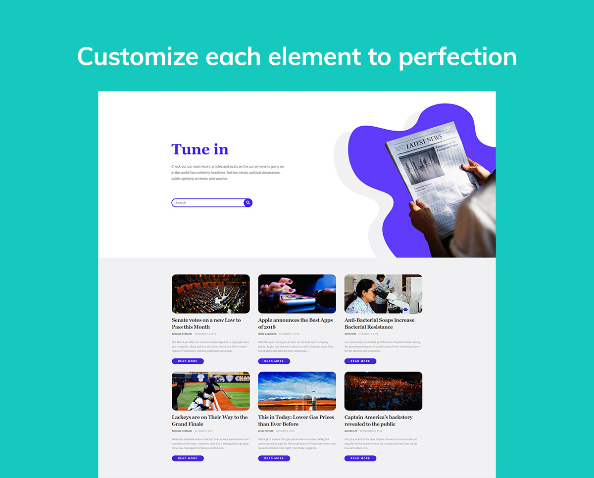Customize the Elements Latest News Page
