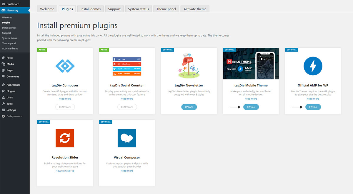 Newsmag Theme: How to install plugins