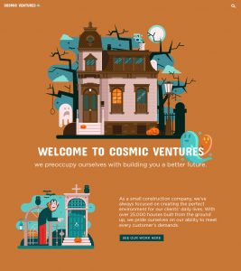 Cosmic Ventures Construction Company Halloween Landing Page