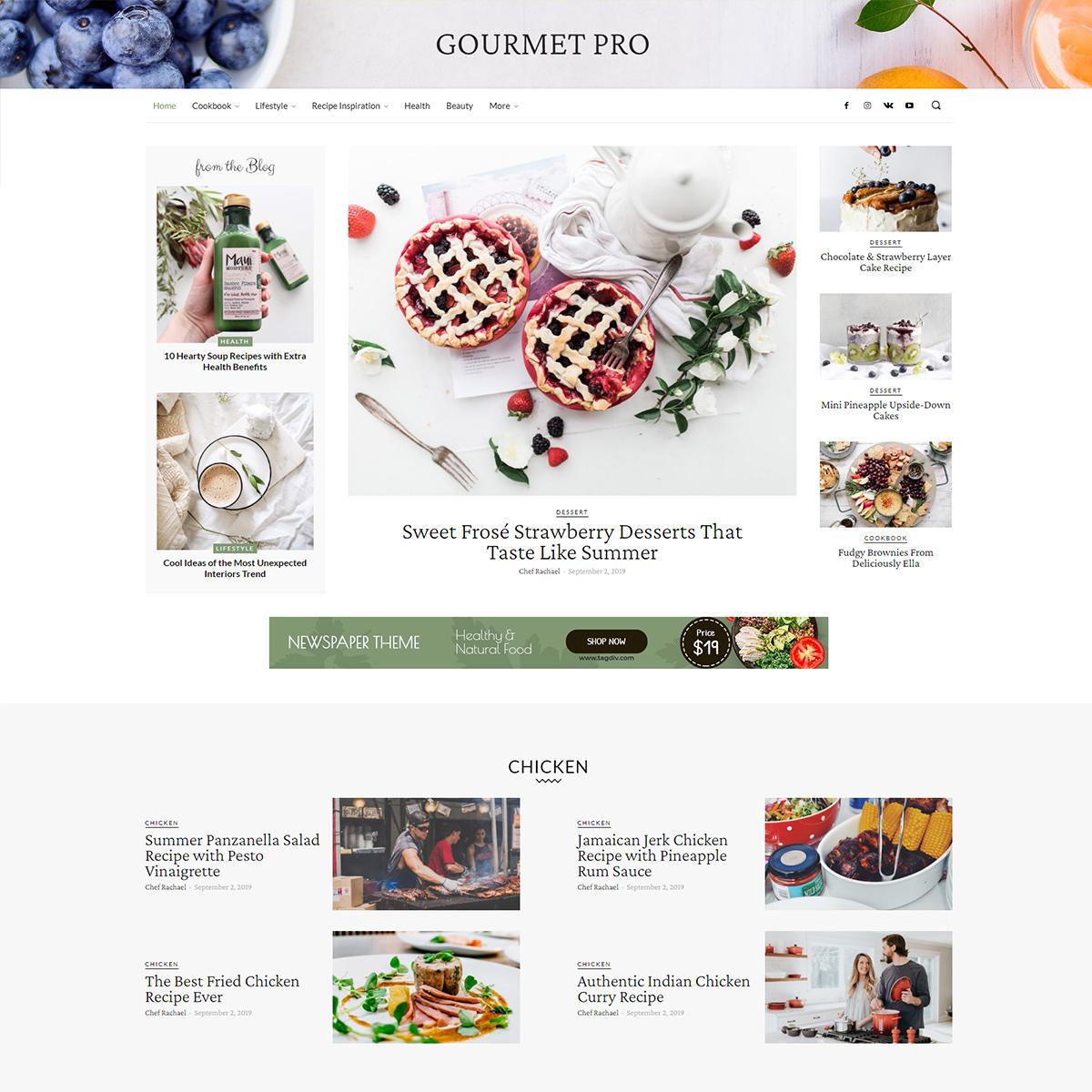 Gourmet Pro tagDiv Newspaper Theme Demo