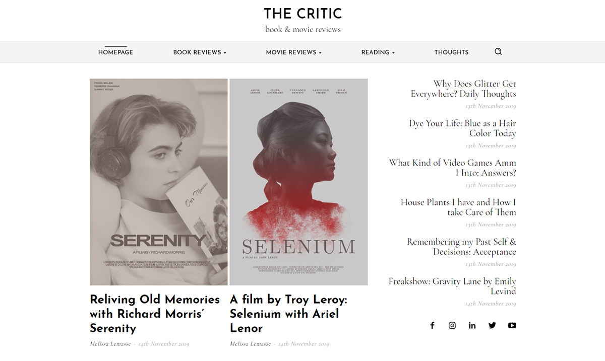 Homepage of the Critic Demo