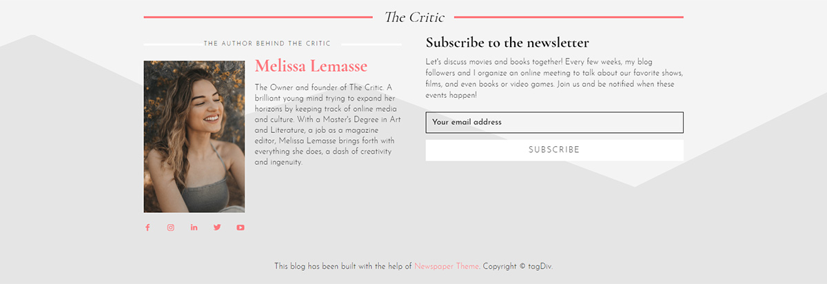 The footer for The Critic