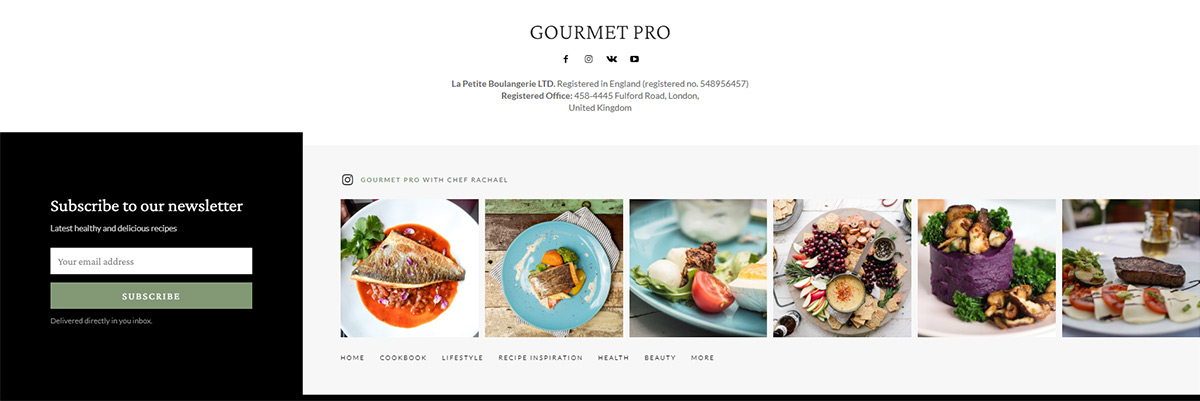 Gourmet PRO footer