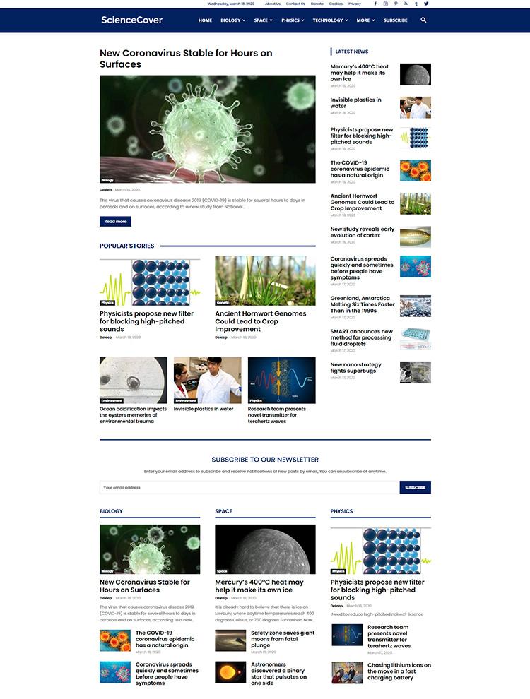 Newspaper Showcase - Science Cover