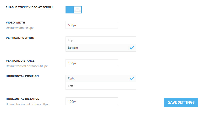 Video Settings for Sticky Video