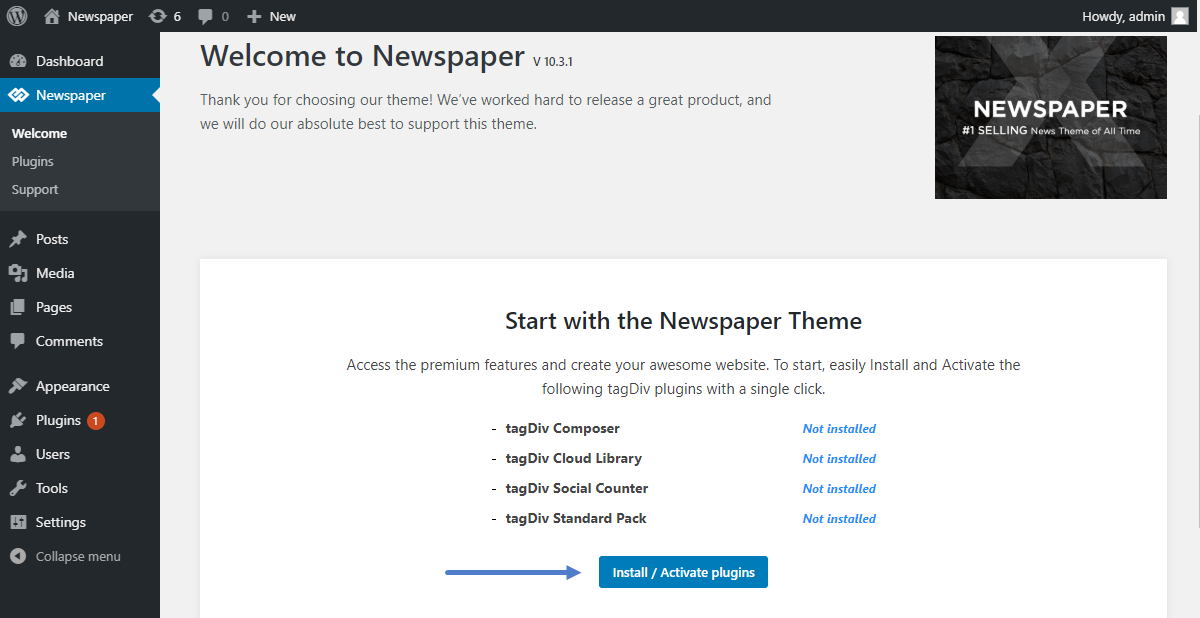 How to Update Newspaper Theme: Install the new update