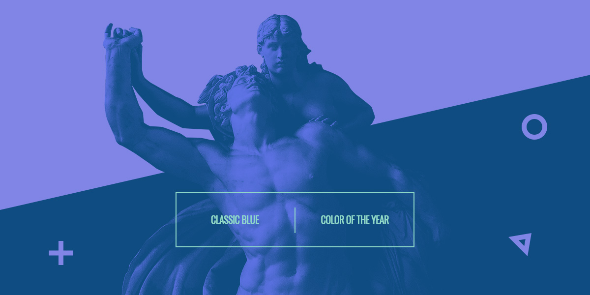 Analogous Color Scheme for Classic Blue in a geometric design