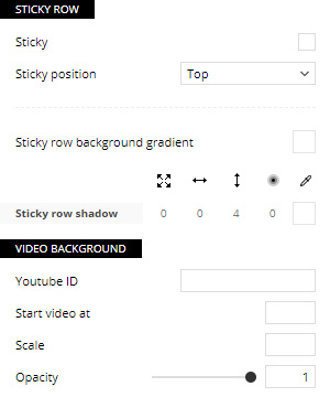 Video Background Settings for Rows