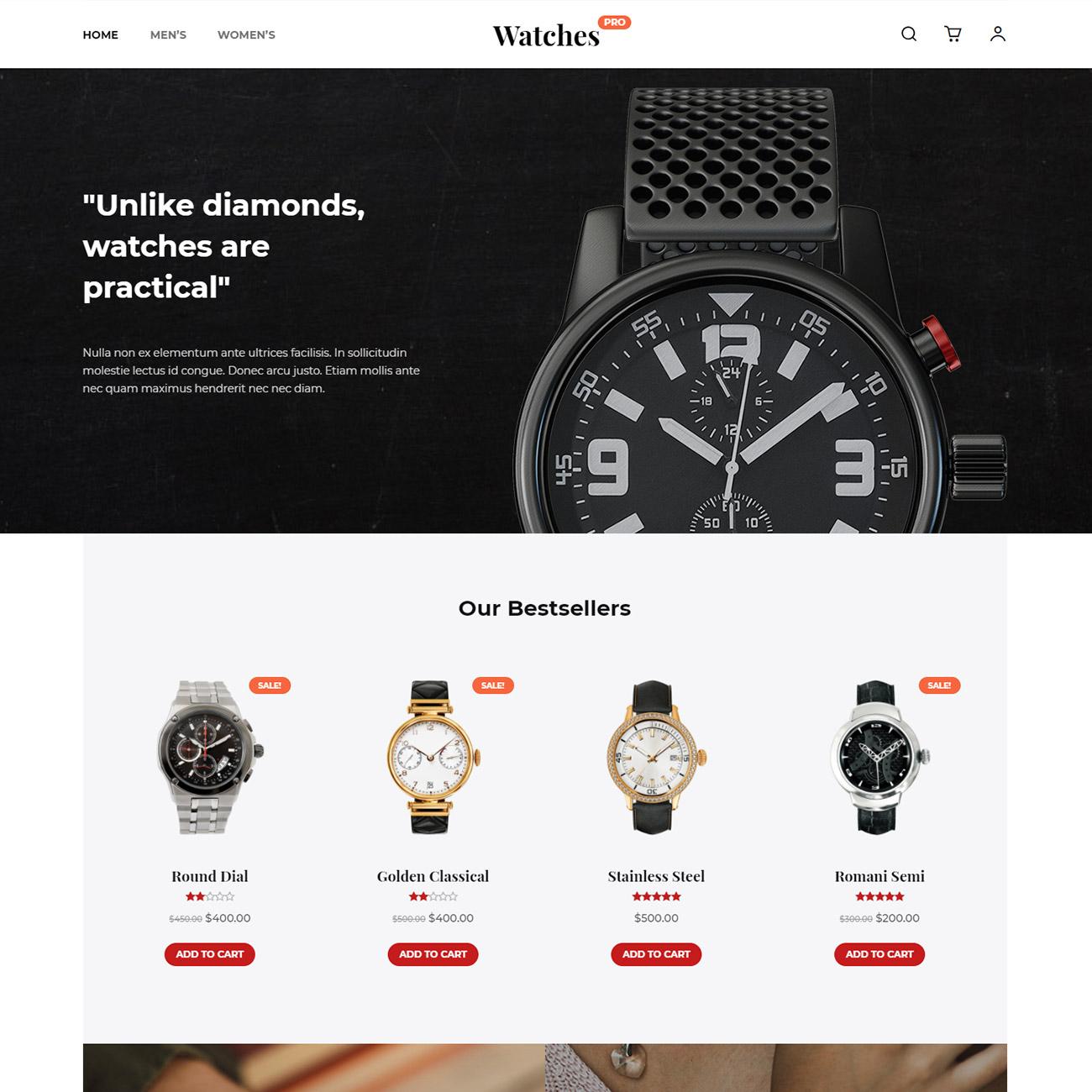Discover Watches Shop Prebuilt Website